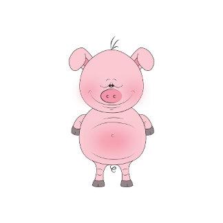 Cute Cheerful Pink Pig Cartoon