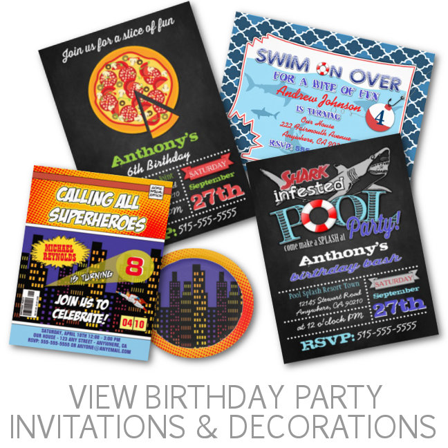 * Birthday Party Invitations, Decorations & More