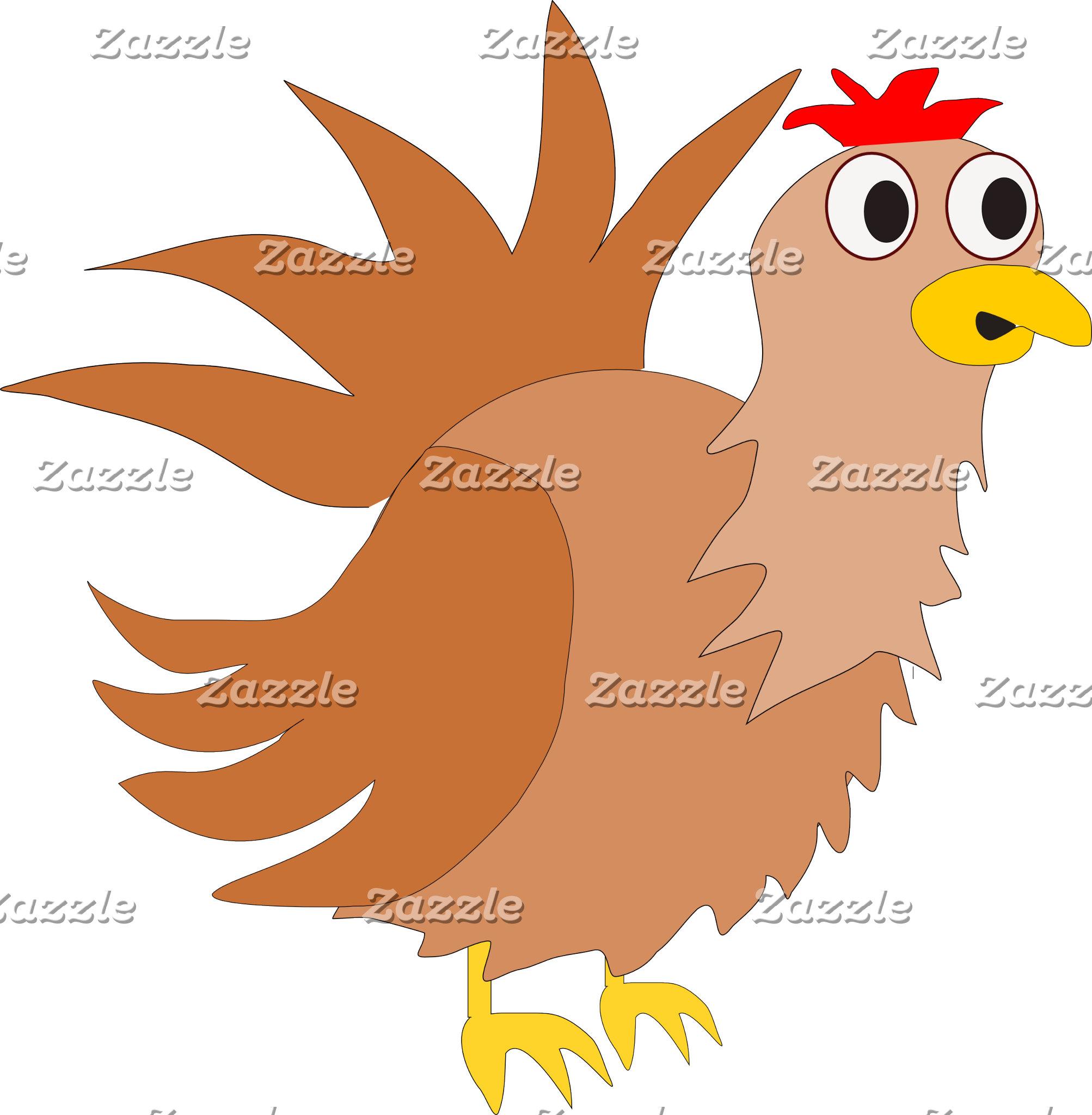 Customizable Funny Cartoon Chicken