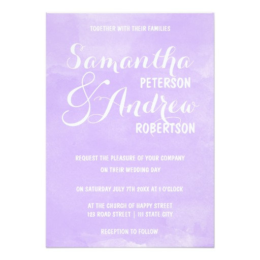 Modern purple lavender watercolor wedding