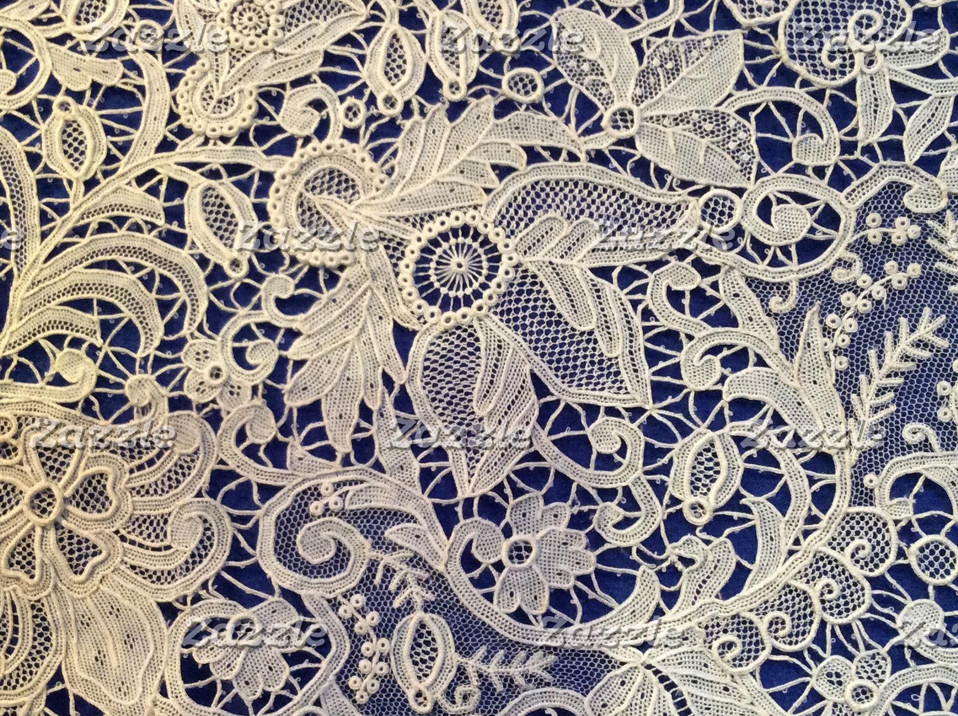 Creamy Ivory and Blue Lace Wedding Set