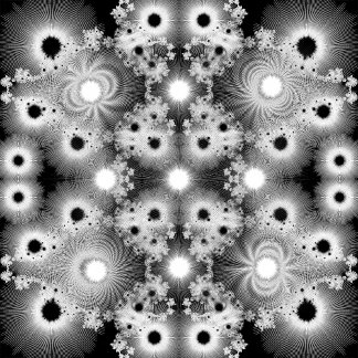 Black and White Abstract Christmas Stars Fractals