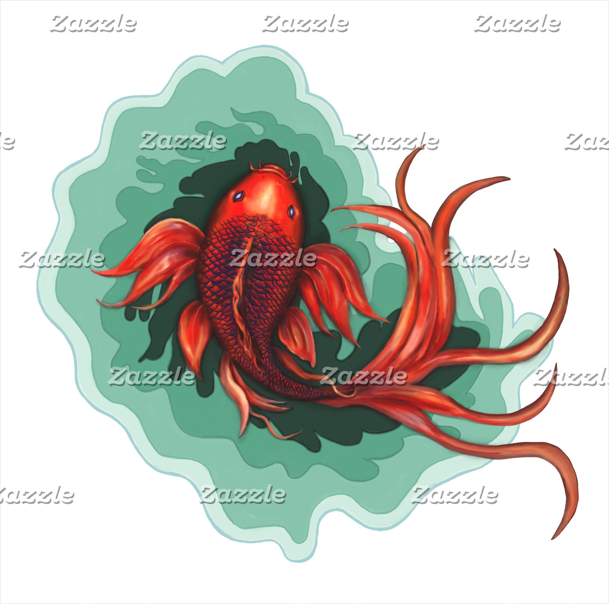 Red and Black Koi Fish