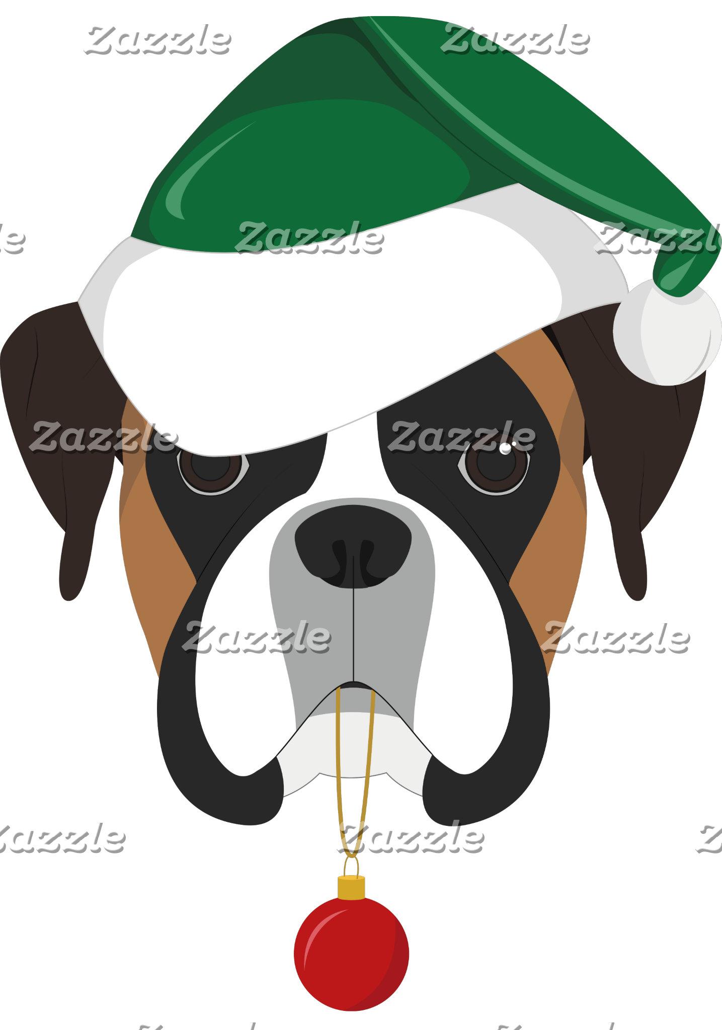 Boxer Dog Santa Hat Christmas Illustration