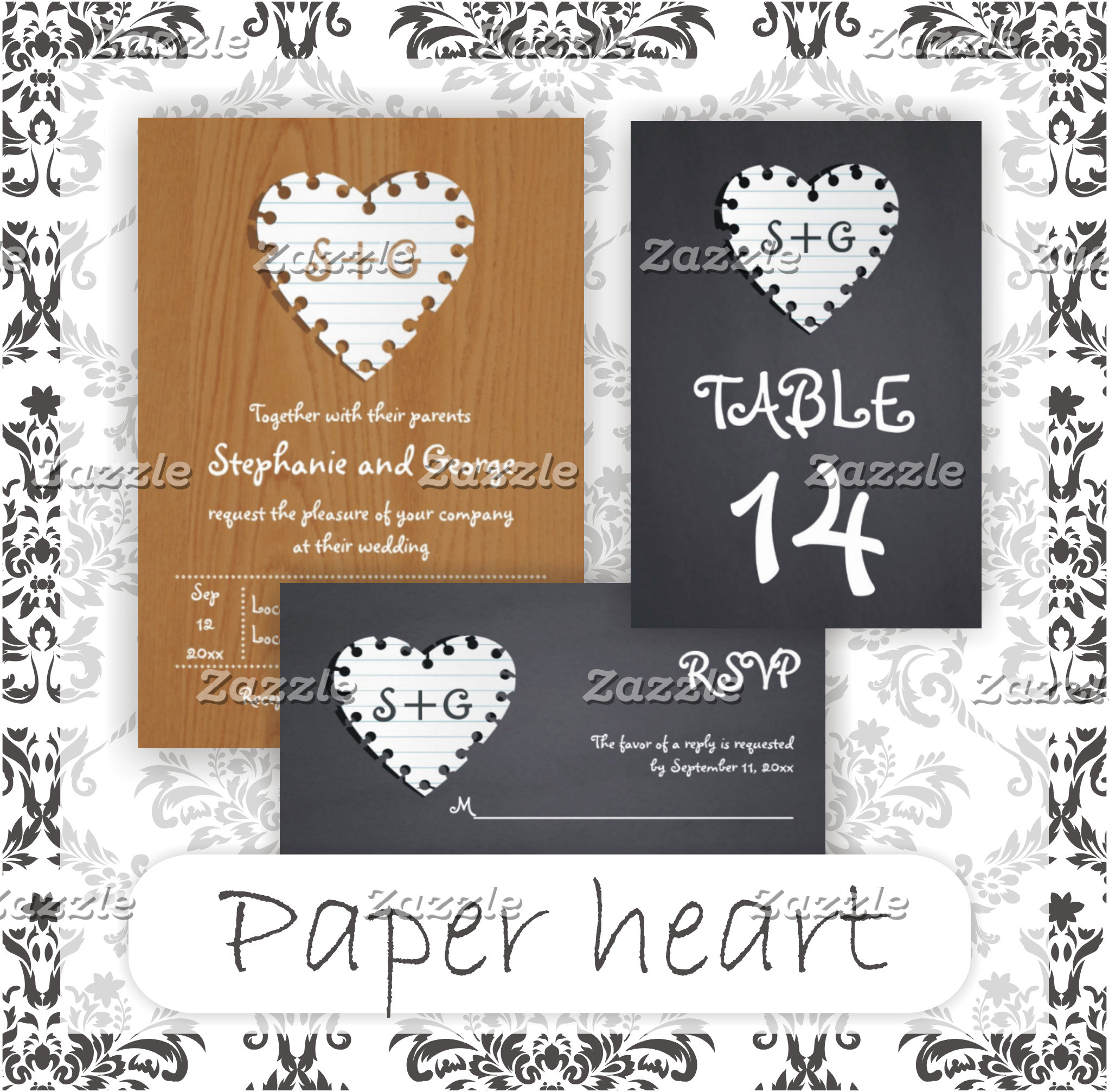 Paper heart with initials