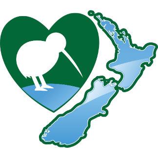 Awesome New Zealand Kiwi bird with map