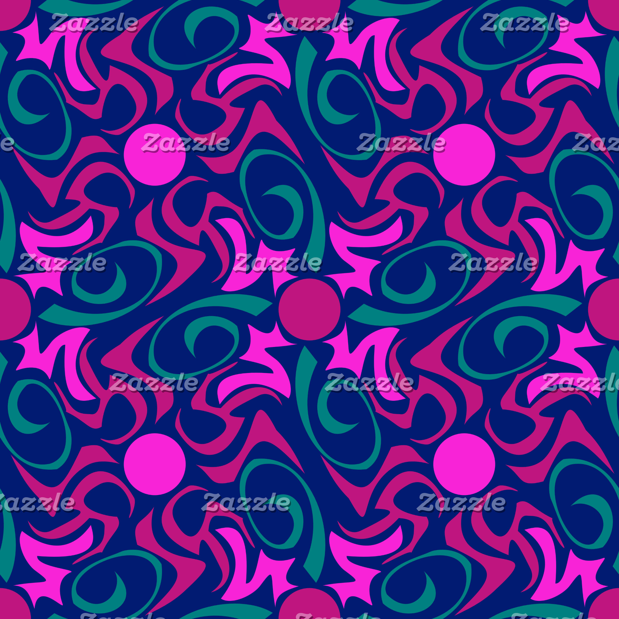 Blue and Fuschia Pink Star Seamless Vector Pattern