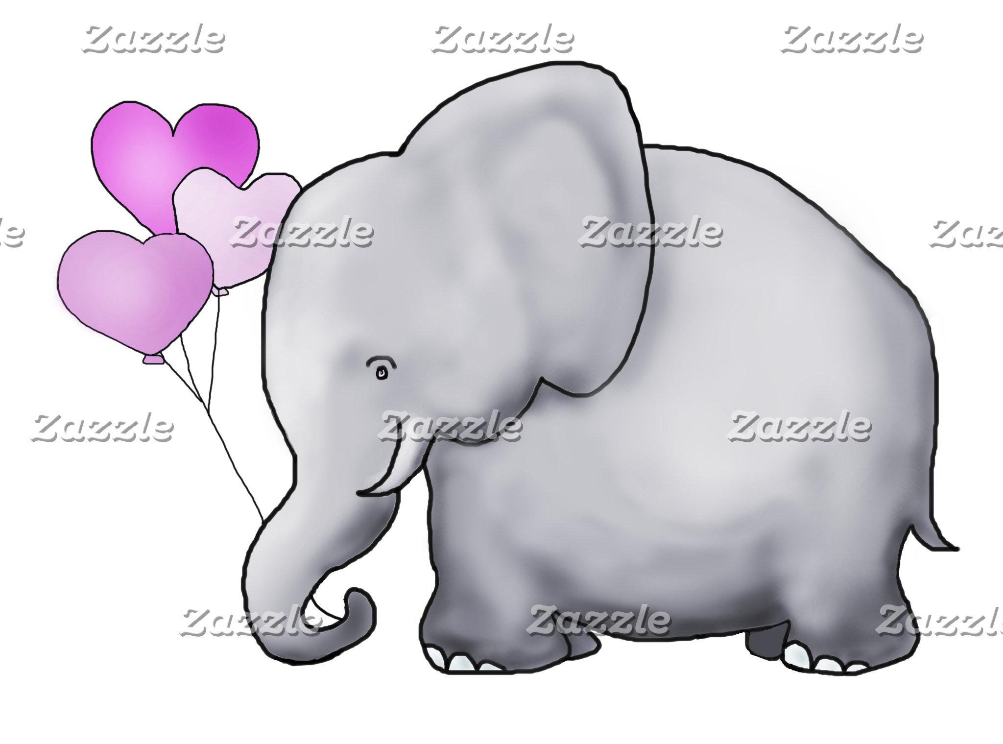 Heart Balloon Elephant - Pink Baby Shower