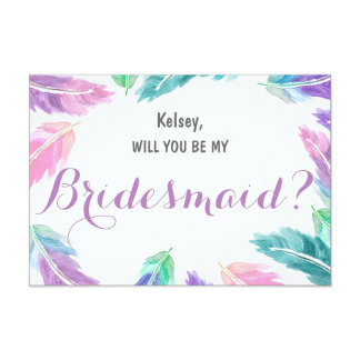 Painted watercolor feathers wedding