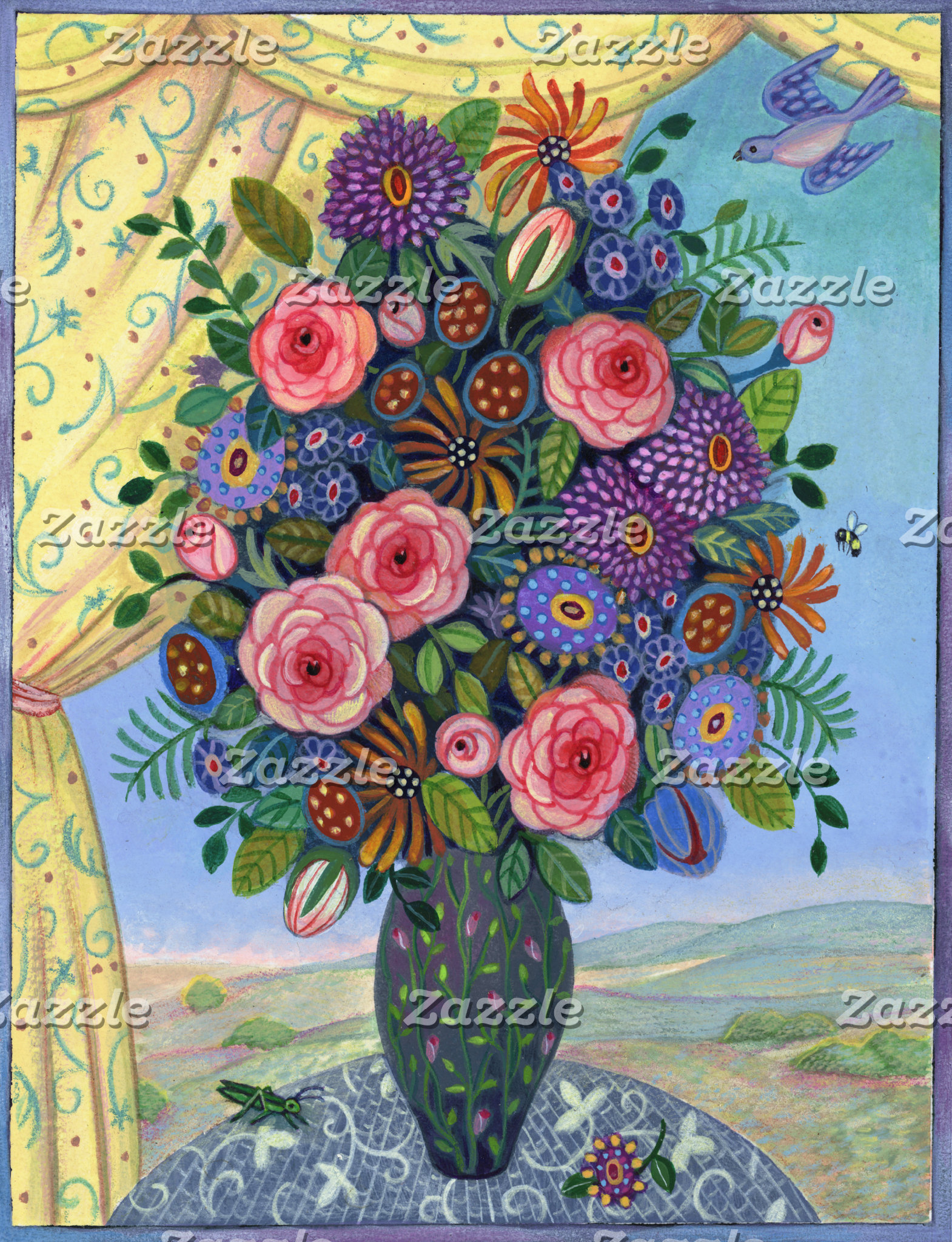 """Colorful Flowers in Vase Poster Print"""