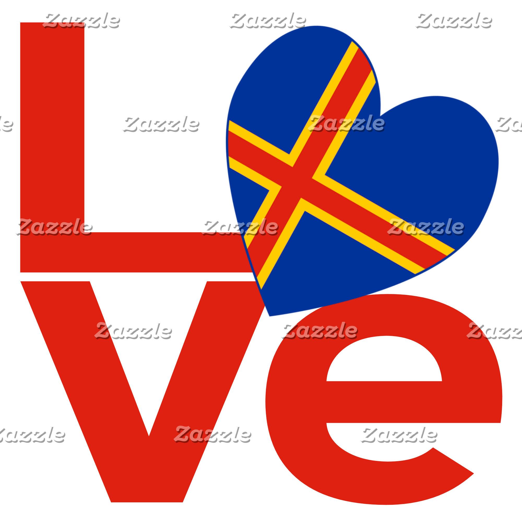 Aaland Islands Red LOVE Flag