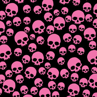 Pink And Black Random Skull Pattern