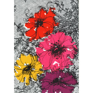 """Flowers on Lacy Background Poster Print"""