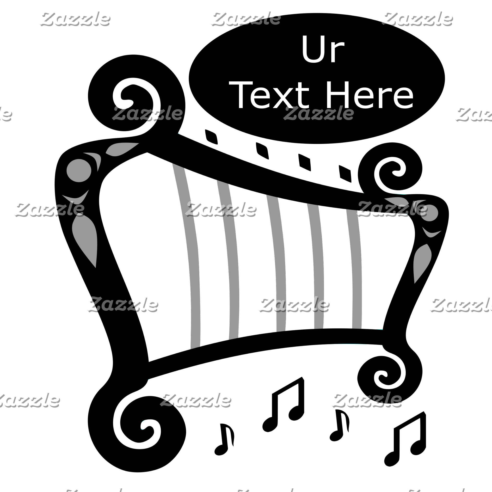Black and White Harp Monogram