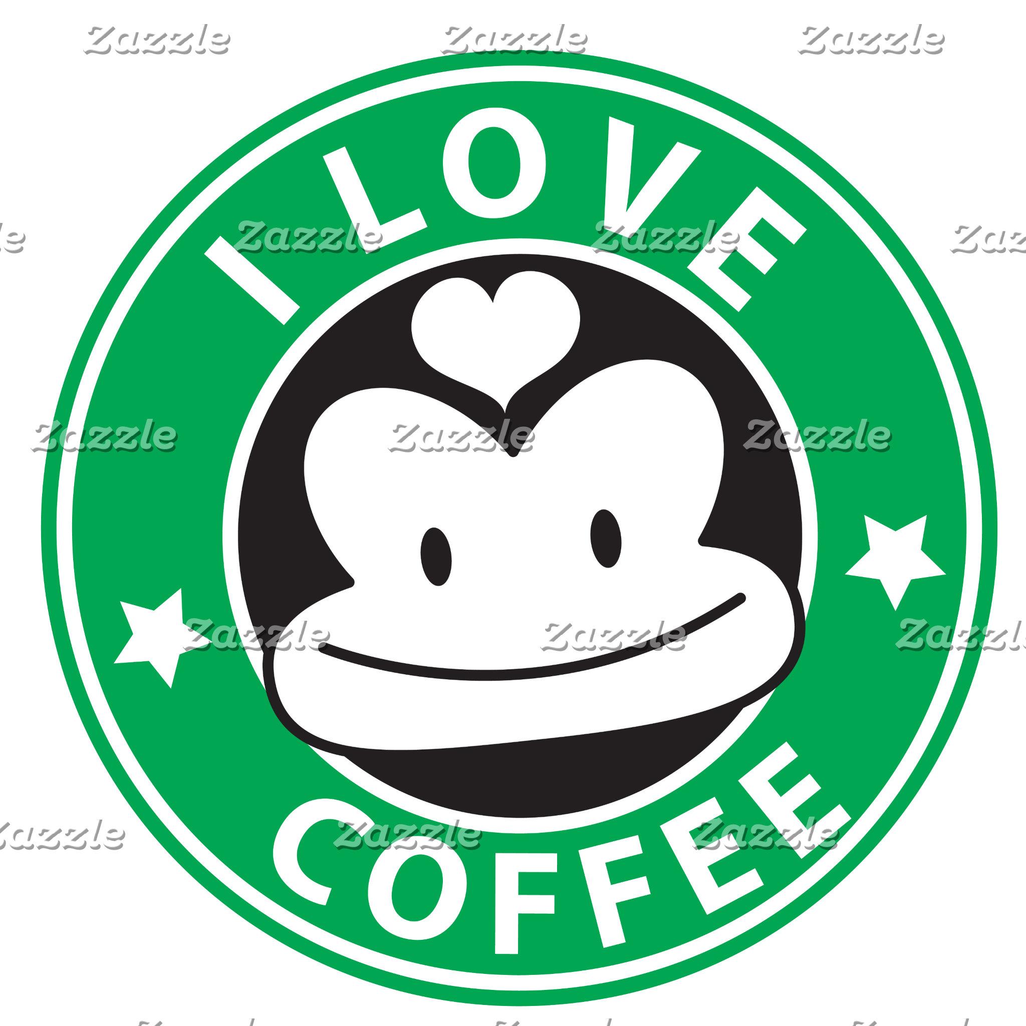 I love coffee with cute green monkey
