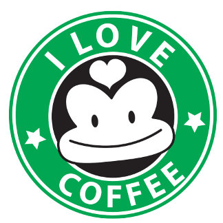 I love coffee with cute green monkey