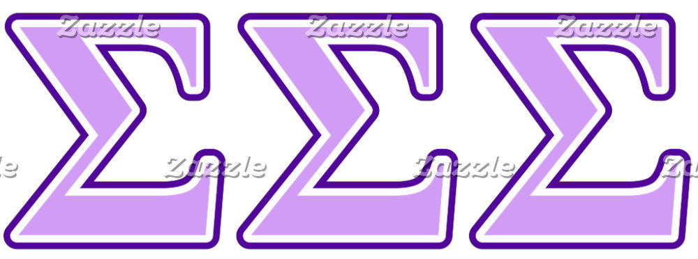 Sigma Sigma Sigma Purple and Lavender Letters