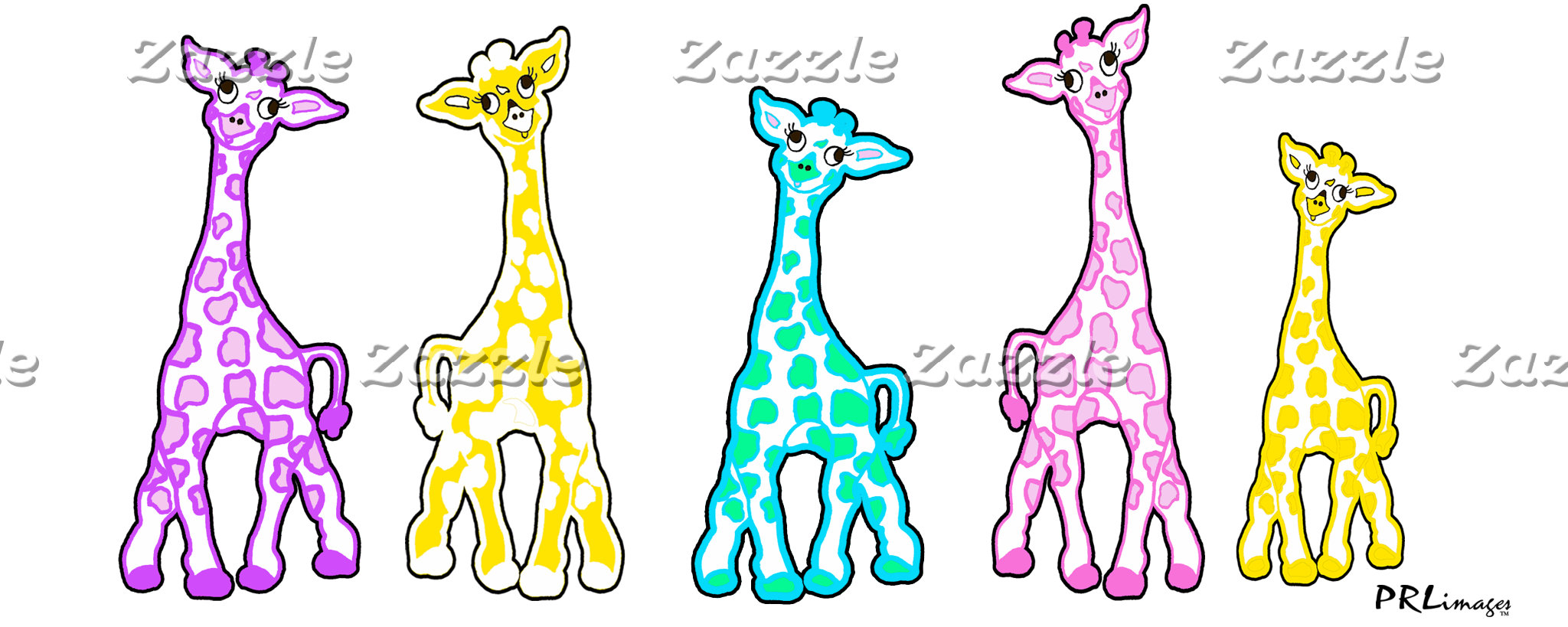 Baby Giraffes In A Row Pastels