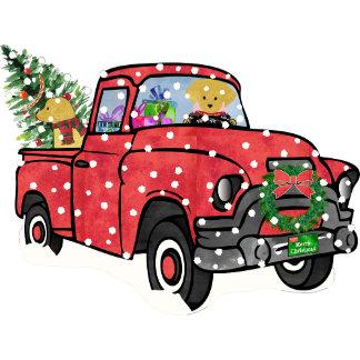 Red Truck Christmas Retrievers