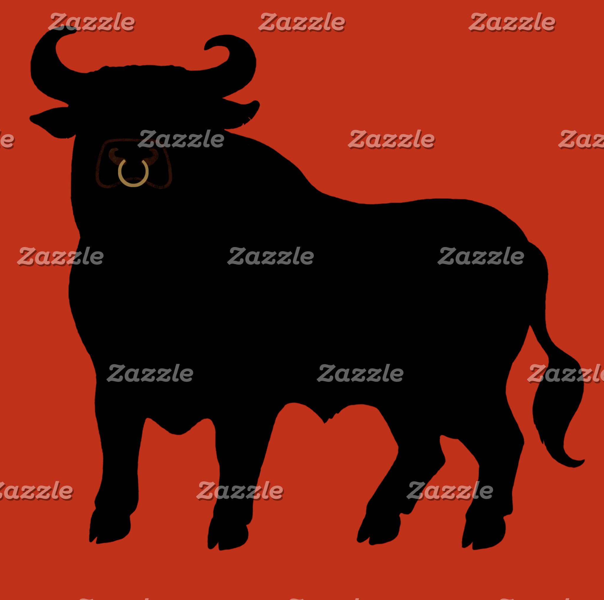 """Black Bull on Red Background Poster Print"""