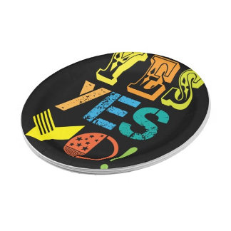 funky quotes paper plates