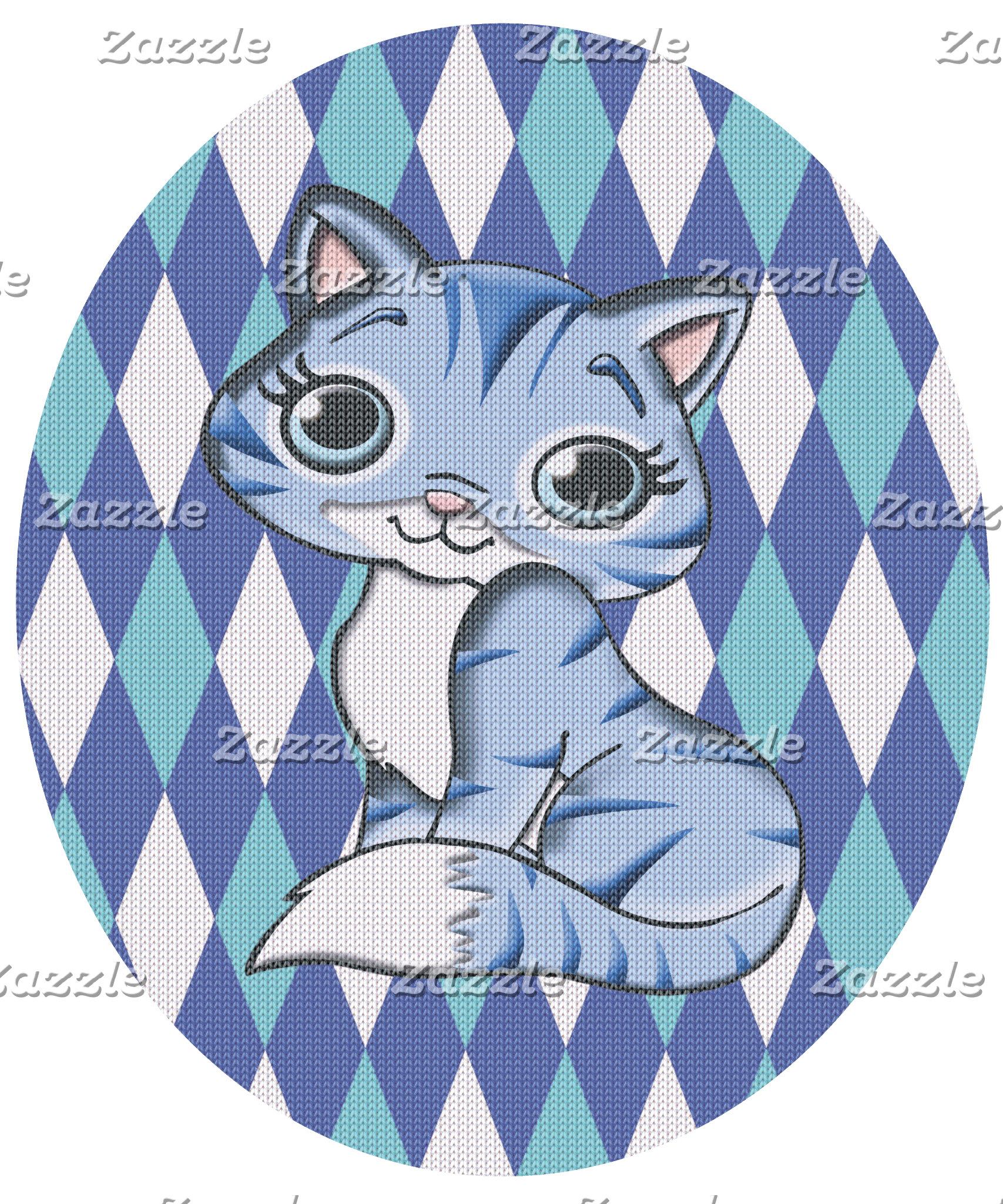 Blue Argyle Kitty Cat