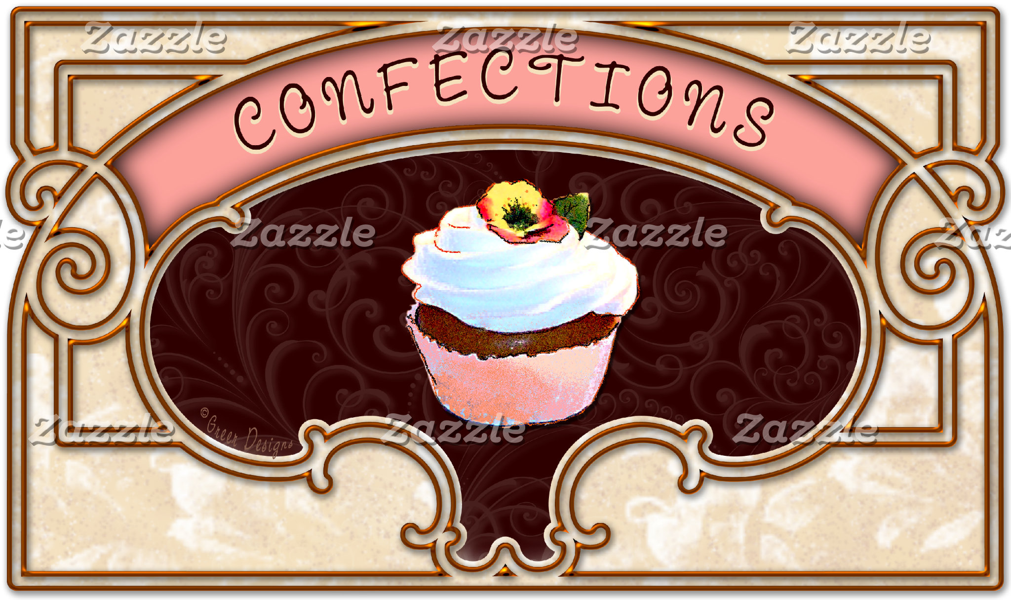 Confection Cupcake Vintage Sign