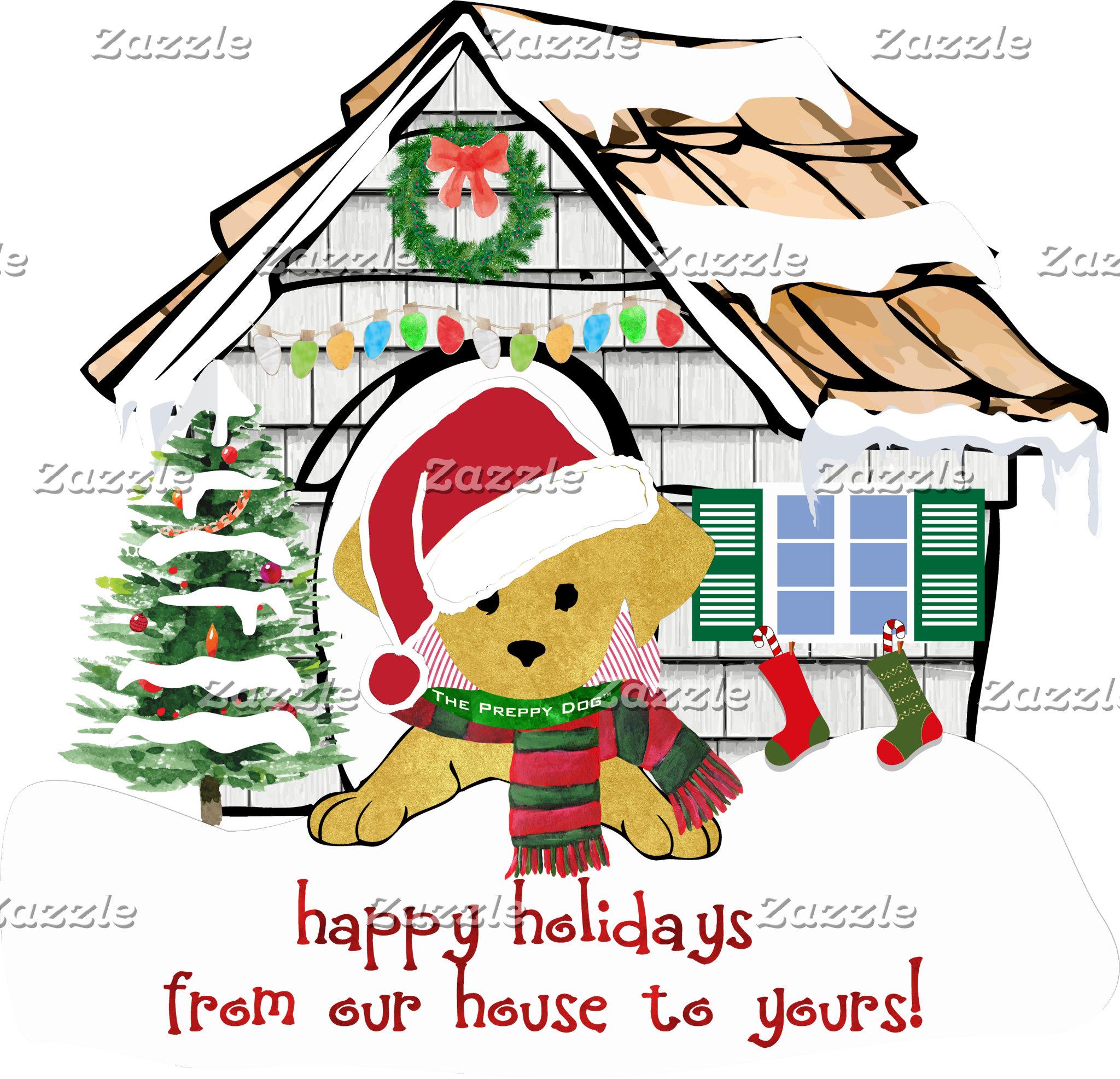 Preppy Dog Christmas House