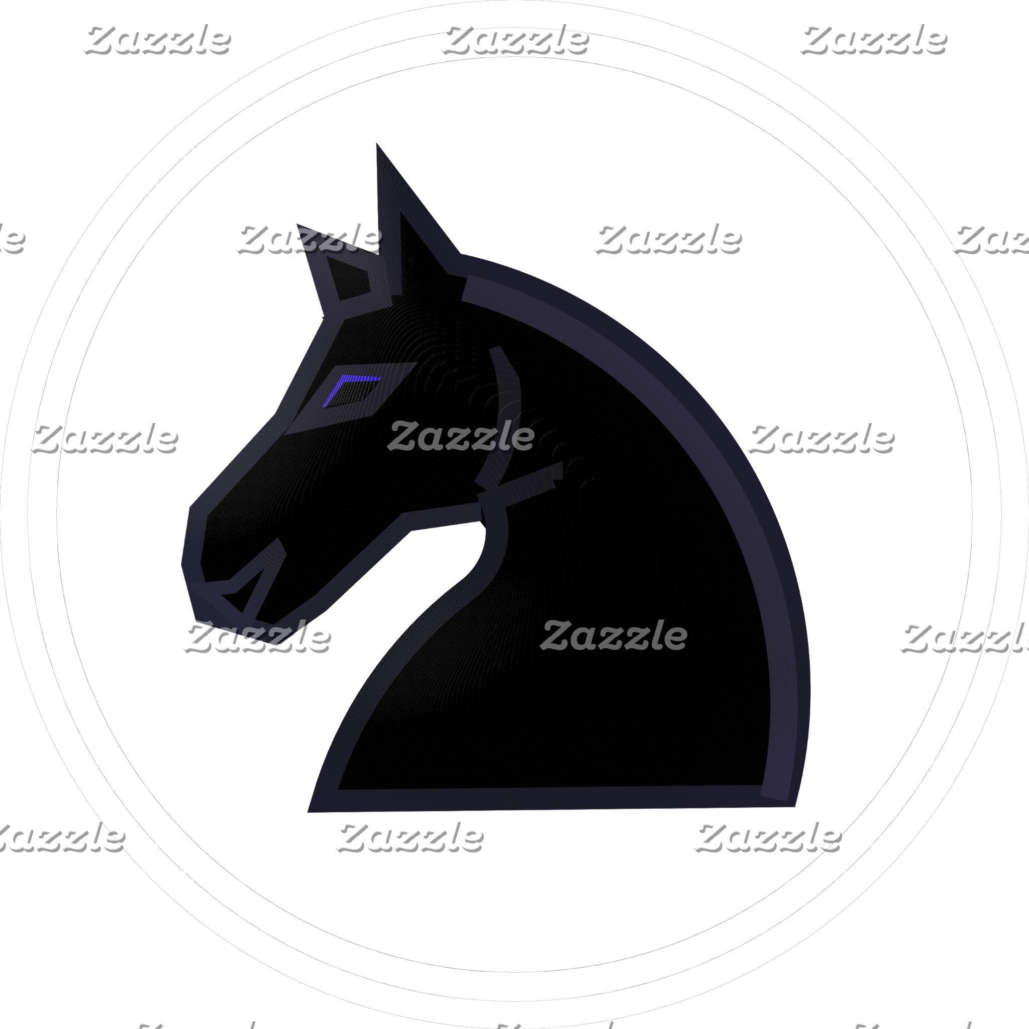 Black Knight Chess Piece