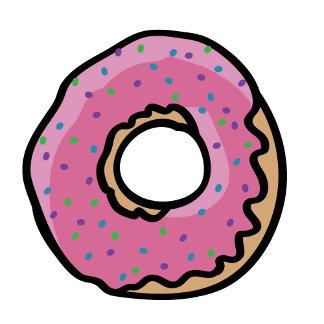 Cute pink retro  sprinkles doughnut