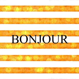 Bonjour Orange Stripe Bokeh