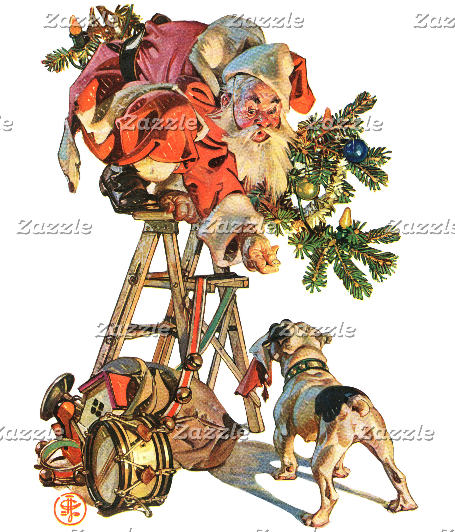 Santa Up a Ladder