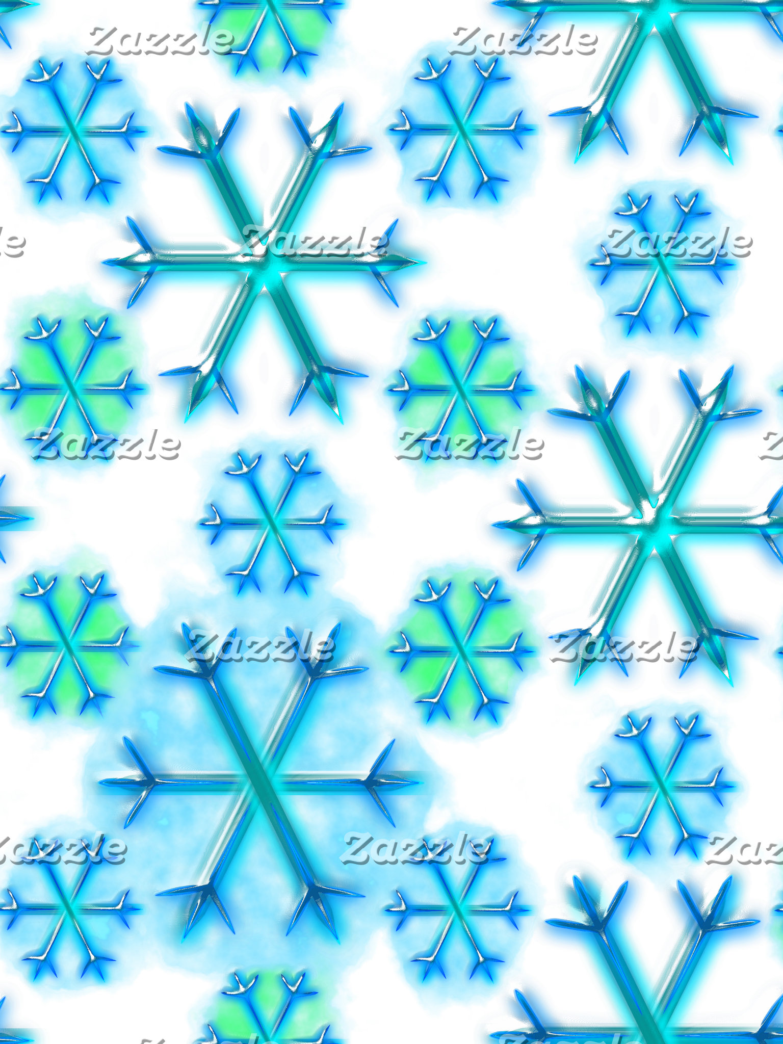 Blue and White Snowflake Hexagon Pattern