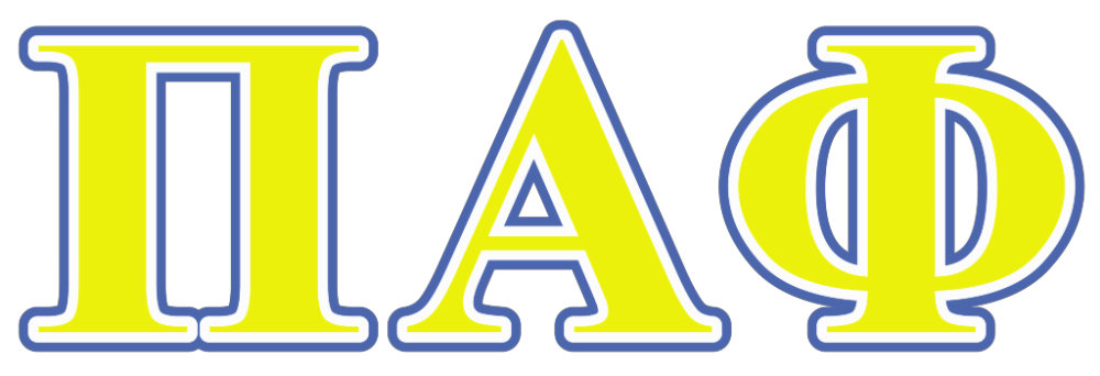 Pi Alpha Phi Yellow and Blue Letters