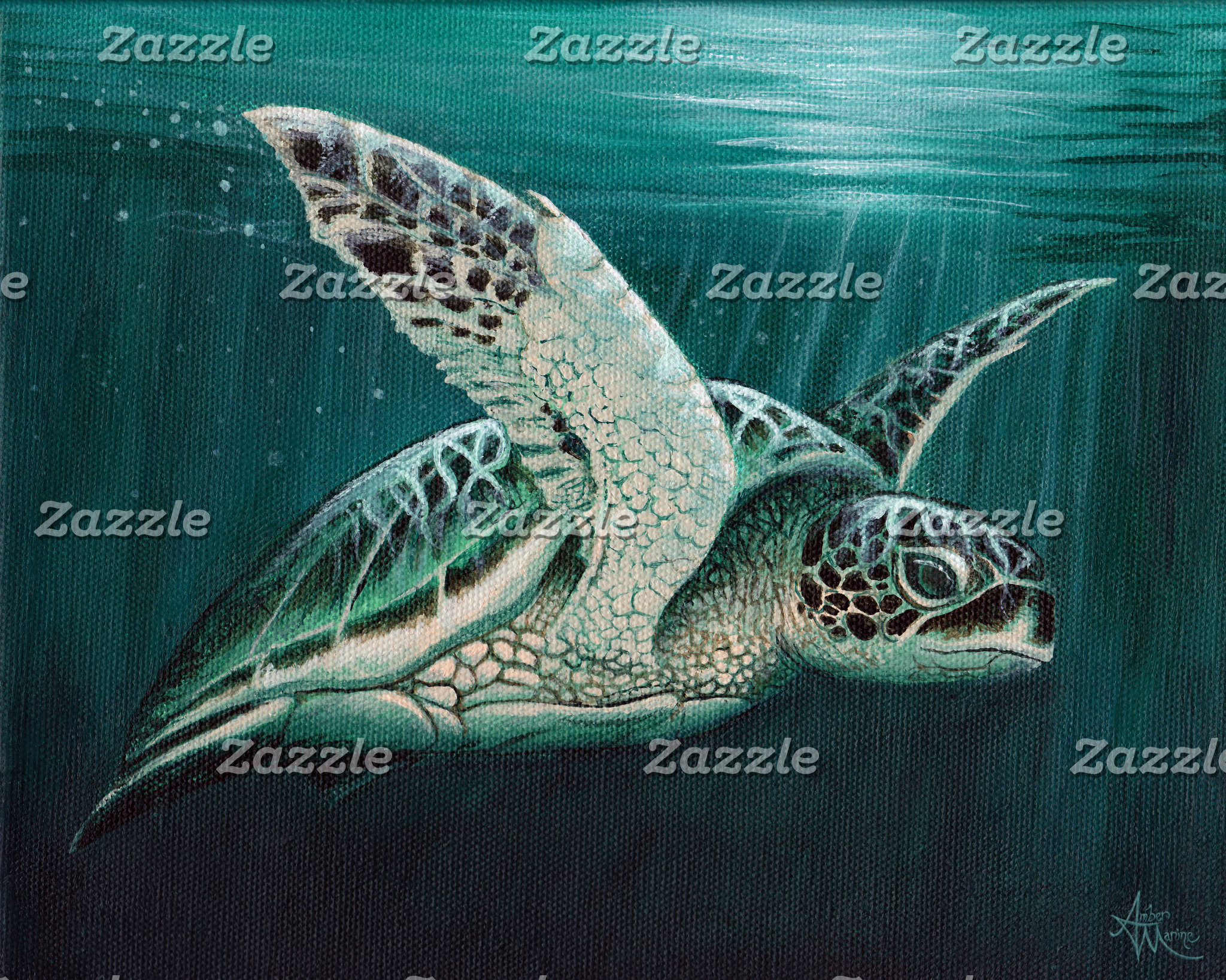 Art: Moonlit Green Sea Turtle