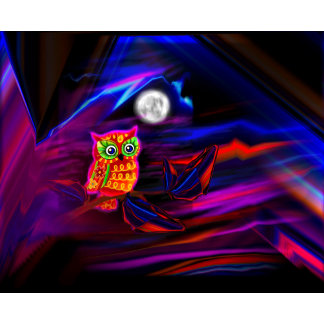 Neon Owl Thunderstorm Flash