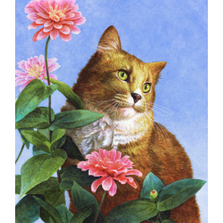 """Orange Cat with Zinnia Poster Print"""