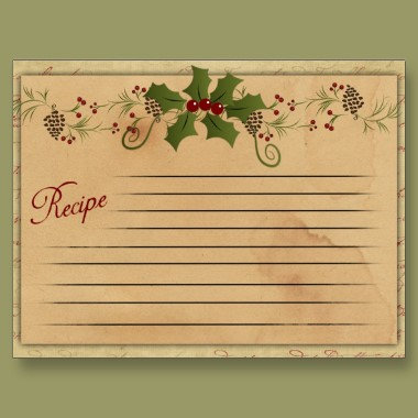 RECIPE, NOTE, GIFT CARDS