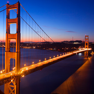 Dawn over San Francisco and Golden Gate Bridge.