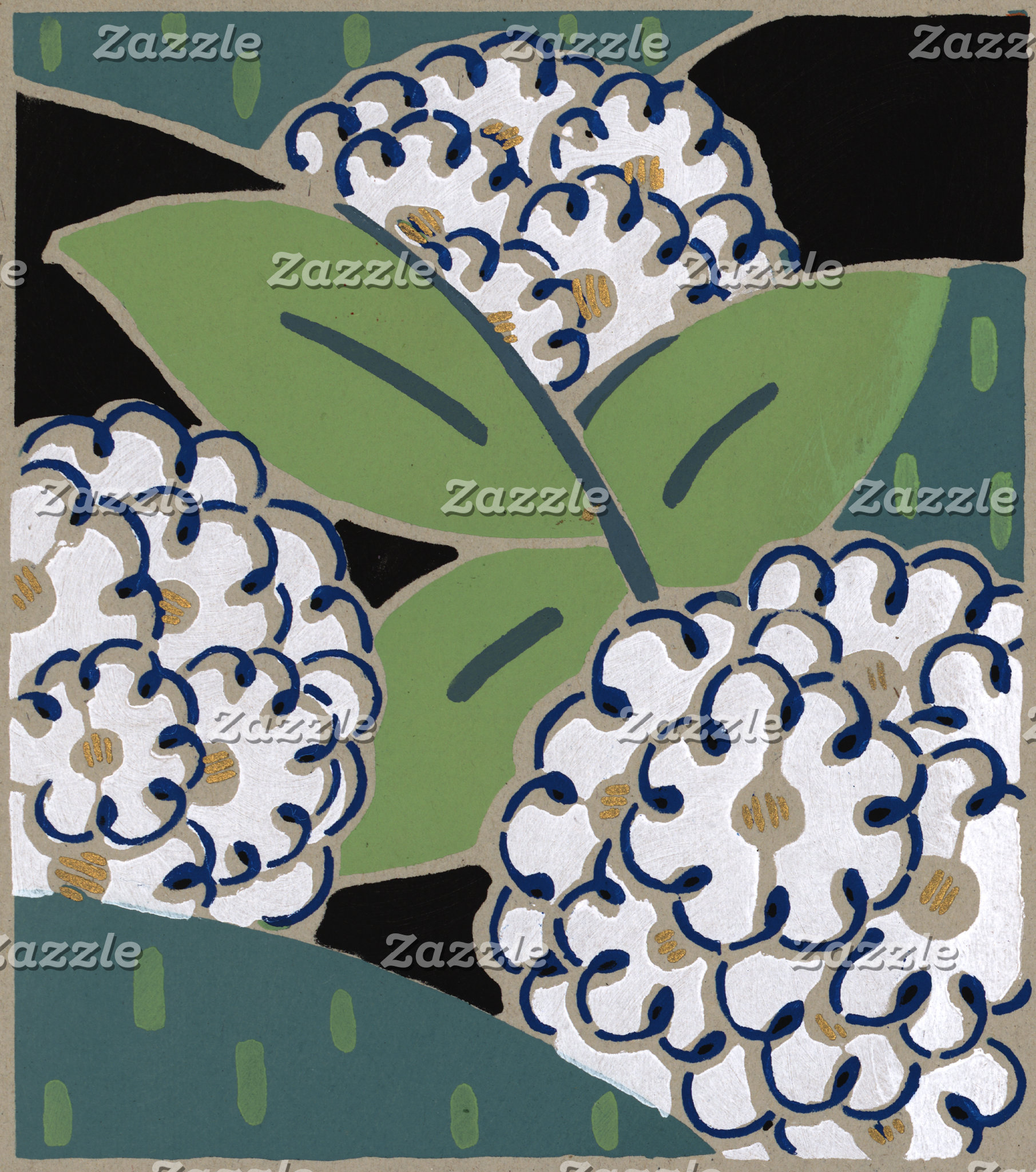"""Abstract White Flowers Poster Print"""