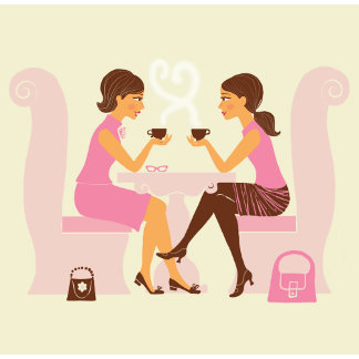"""Girlfriends talk over coffee Poster Print"""
