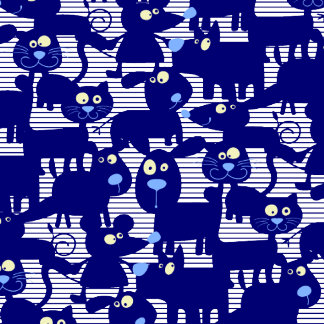 Kitty Dogs Mice in Blue