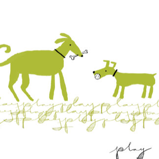 """Dogs Playing Poster Print"""