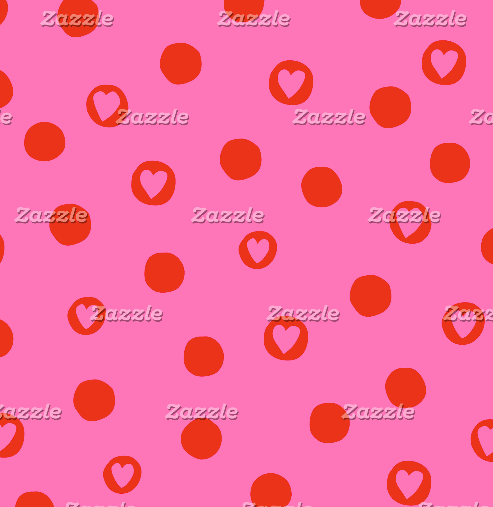 Red and Pink Hearts in Circles Pattern