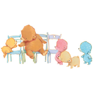 Big Brown Bear & Friends Share Four Chairs