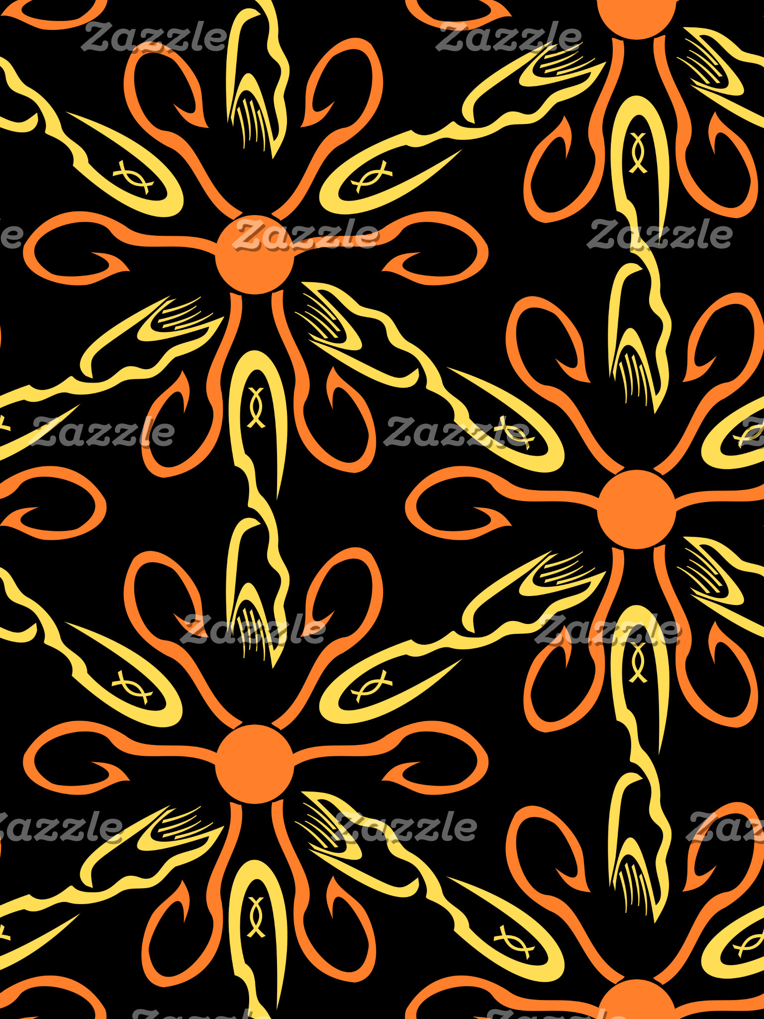 Orange Hook Yellow Hook Yellow Fish Flower Pattern