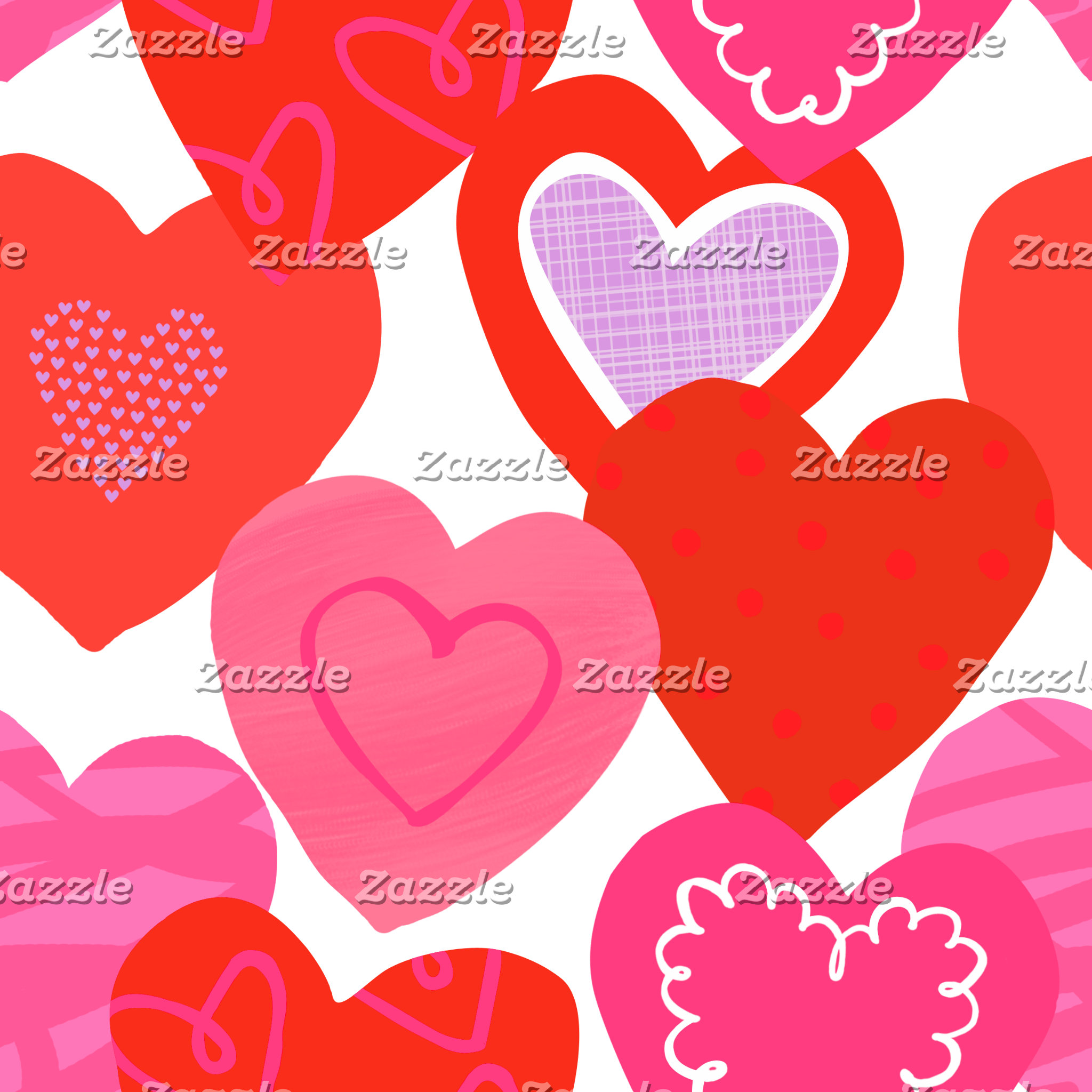 Big Pink Red and Purple Hearts Pattern