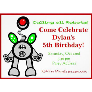 Robot Birthday Party Invitations Custom Templates