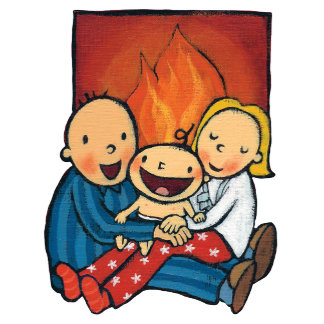 Holiday Scene: Family in Front of the Fireplace