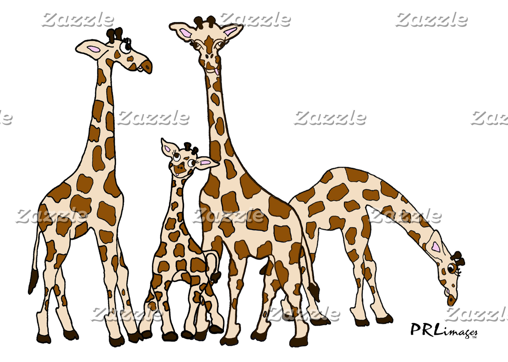 Giraffe Family in Brown and Beige
